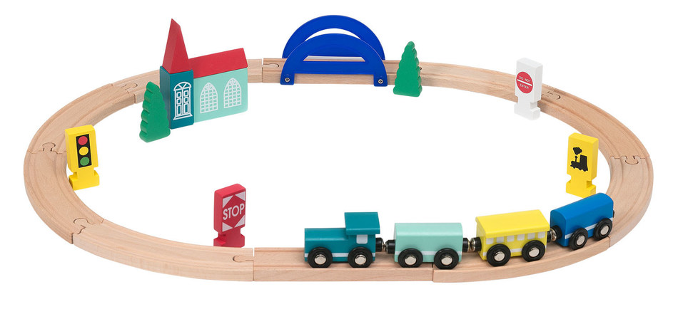 HEMA is recalling all wooden toy train sets (article number 15.12.2235). An internal check revealed that one of the parts of the train set – the red pointed tip of the church tower – could pose a potential hazard to small children. (PRNewsfoto/HEMA B.V.)