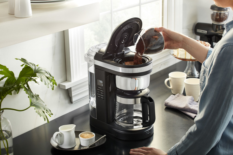 New KitchenAid Drip Coffee Maker with Spiral Showerhead and Programmable Warming Plate.