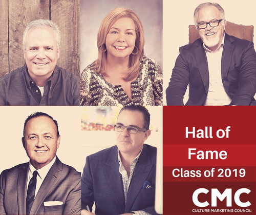The Culture Marketing Council: The Voice of Hispanic Marketing (CMC) announced the 2019 inductees of the CMC Hall of Fame: (from top left, clockwise) Tony Dieste, Ingrid Otero-Smart, Alex Lopez Negrete, Luis Miguel Messianu and Al Aguilar. These visionaries and industry leaders will be recognized during an awards gala at the 2019 CMC Annual Summit, taking place on Tuesday, June 11, at the Statler Hotel in Dallas, Texas.