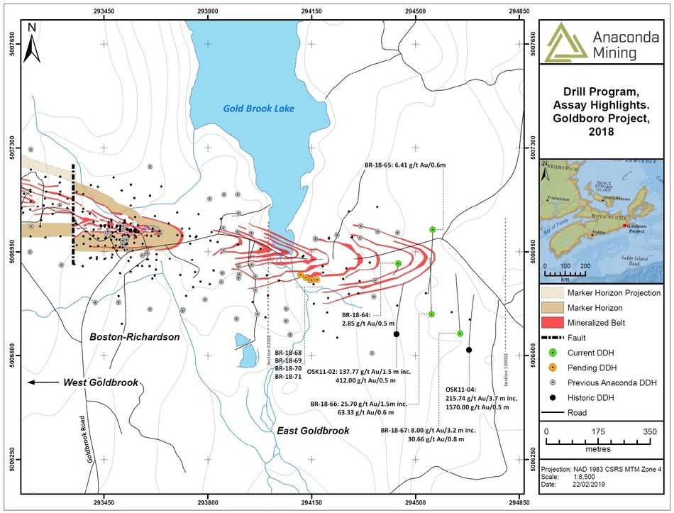 Exhibit A. A map showing the location of recent drilling and highlights from the EG Gold System at Goldboro. Four holes, drilled for metallurgical testing, pending assays are also shown (holes BR-18-68 to -71). (CNW Group/Anaconda Mining Inc.)