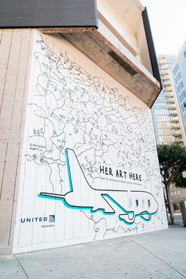 Mural in downtown LA by Shantell Martin for Her Art Here contest with United Airlines