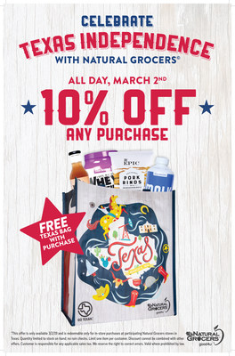 On March 2, Natural Grocers stores in Texas are offering 10 percent off, a free Texas bag and more