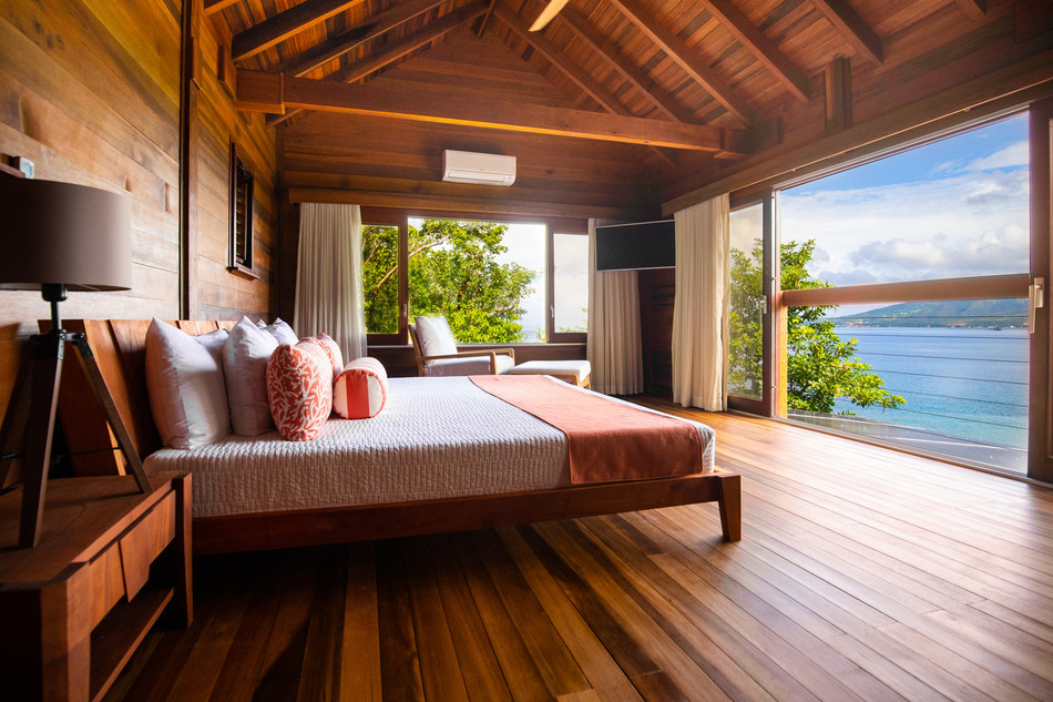 Secret Bay's Ti-Fey Villa bedroom, available under Dominica's Citizenship by Investment Programme
