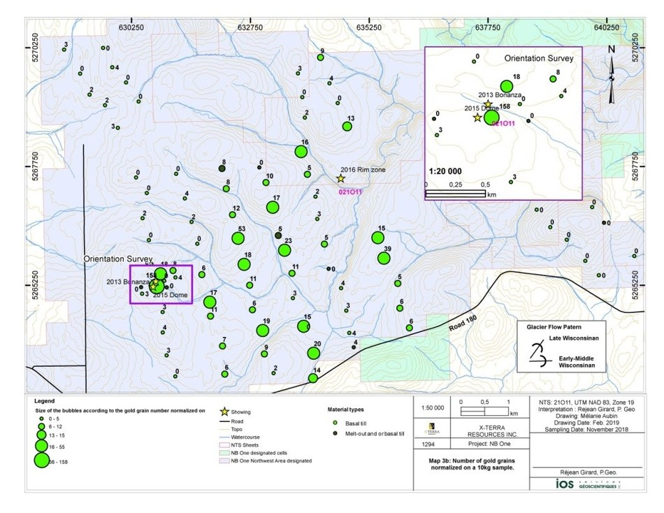 Map 1. Normalized gold grain count (CNW Group/X-Terra Resources Inc.)