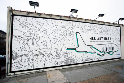 Mural in Brooklyn, NY by Shantell Martin for Her Art Here contest with United Airlines