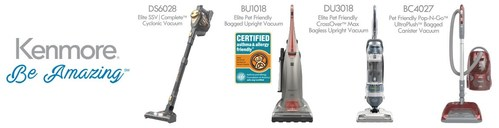 Cleva North America, Inc. will manufacture Kenmore® and Kenmore Elite® brand vacuums and accessories. Pictured from left to right: Kenmore Elite DS6028 SSV Complete Cordless Vacuum, Kenmore Elite BU1018 Pet Friendly Bagged Upright Vacuum - AAFA Certified, Kenmore DU3018 Pet Friendly CrossOver Max Upright Vacuum, Kenmore BC4027 Pet Friendly POP-N-GO with UltraPlush Canister Vacuum.