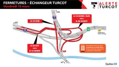 Fermetures de l'échangeur Turcot - Vendredi 15 mars (Groupe CNW/Ministère des Transports)