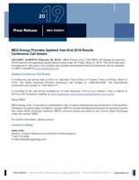 MEG Energy Year-End 2018 Results Release Update (CNW Group/MEG Energy Corp.)