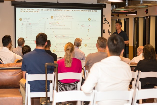Derek Adelman presenting on Behavioral E-Commerce at creative WeWork space at Pyrmont, Sydney on 13 February, 2019.