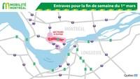 Entraves pour la fin de semaine du 1er mars (Groupe CNW/Ministère des Transports)