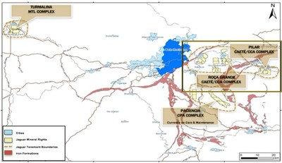Figure 1: Locations of Jaguar´s Mining and Mineral Rights (CNW Group/Jaguar Mining Inc.)