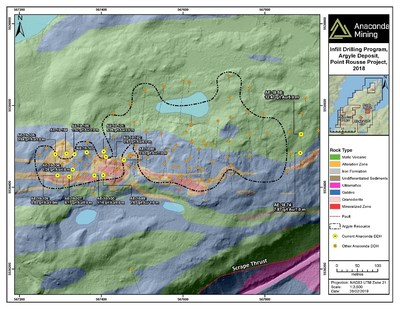 Exhibit B. A geological map of the Argyle Deposit showing the areas of infill drilling including holes AE-18-98 to AE-19-109. (CNW Group/Anaconda Mining Inc.)