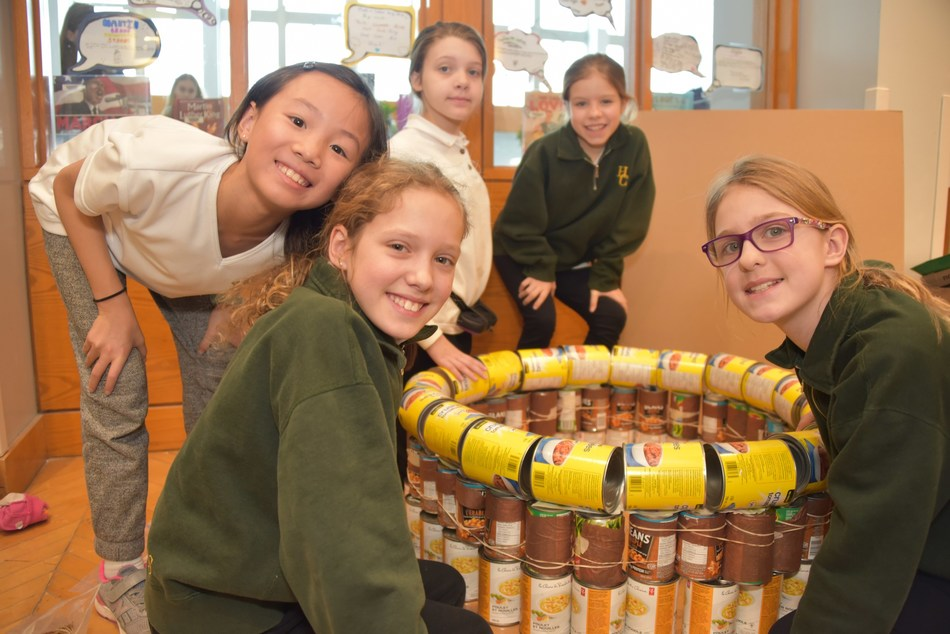 This past Wednesday, February 27, Grade 5 students at Havergal College built structures out of canned and packaged food items, which will be donated to the North York Harvest Food Bank. Inspired by international, non-profit design and build competition Canstruction, the project aims to decrease hunger and fight poverty in the North Toronto community. (CNW Group/Havergal College)