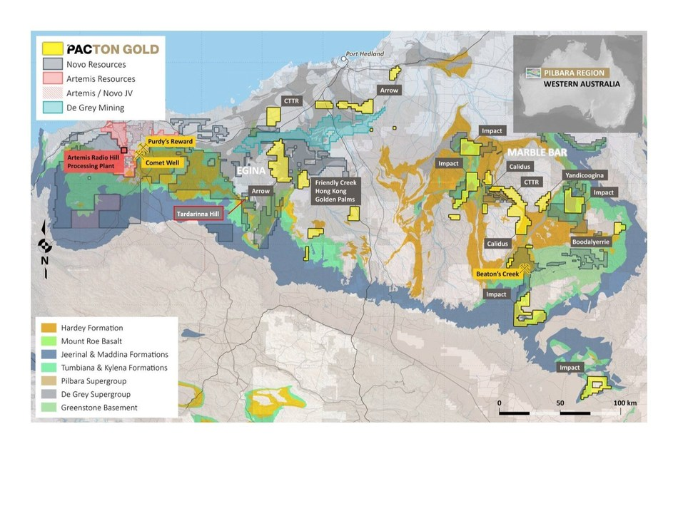 Figure 2. Pacton Regional Project Location Plan (CNW Group/Pacton Gold Inc.)