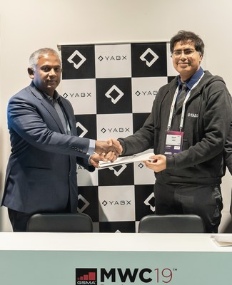 Mahtab Uddin Ahmed, MD & CEO, Robi and Rajat Dayal, Founder & CEO, YABX sign MoU at MWC