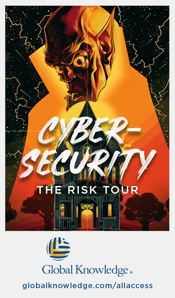 """The cybersecurity """"Risk Tour"""" poster is one of the many concert tour inspired posters Global Knowledge created for its unlimited classroom and on-demand training offer, the All Access IT Skills Subscription. #ITAF See all of the posters at www.globalknowledge.com/allaccess"""