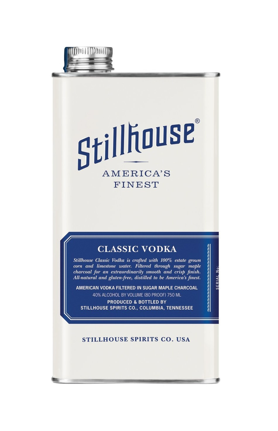 Encased in a striking bone white version of the brand's signature 100% stainless steel can, Stillhouse Classic Vodka is all-natural & gluten-free and is distilled from 100% estate grown corn & limestone water, then filtered to perfection through sugar maple charcoal, resulting in a polished finish.