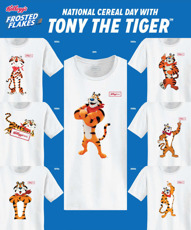 In honor of National Cereal Day, Kellogg's®  is debuting a limited-edition Tony the Tiger t-shirt collection exclusively available at Kellogg's NYC Café beginning March 7.