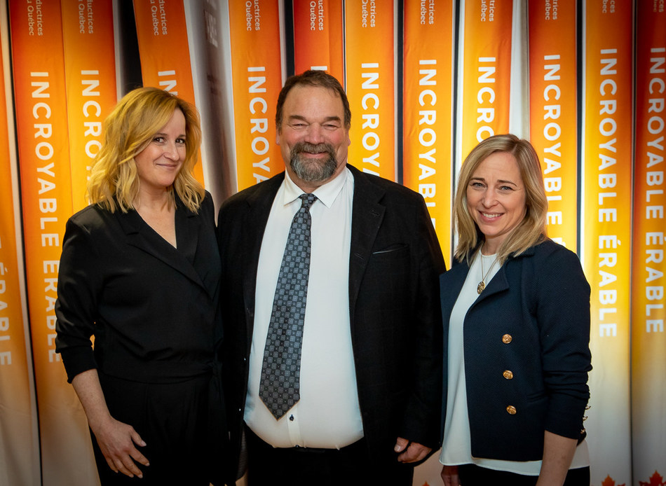 From left to right: Élyse Marquis, Event host; Serge Beaulieu, QMSP (Québec Maple Syrup Producers) President; Nathalie Langlois, Director of Promotion, Innovation and Market Development (CNW Group/Producteurs et productrices acéricoles du Québec)