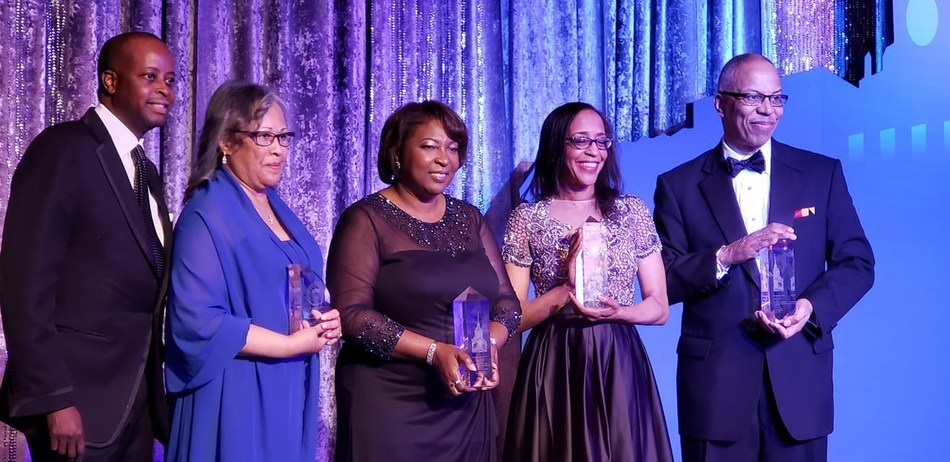 President Wayne A. I. Frederick (left) celebrates with the Howard University 2019 Charter Day honorees: LaRue V. Barkwell, Rosie Allen-Herring, Lori George Billingsley, and Lt. Governor Boyd K. Rutherford. Proceeds from the event will directly address the financial aid needs that exist for Howard students.