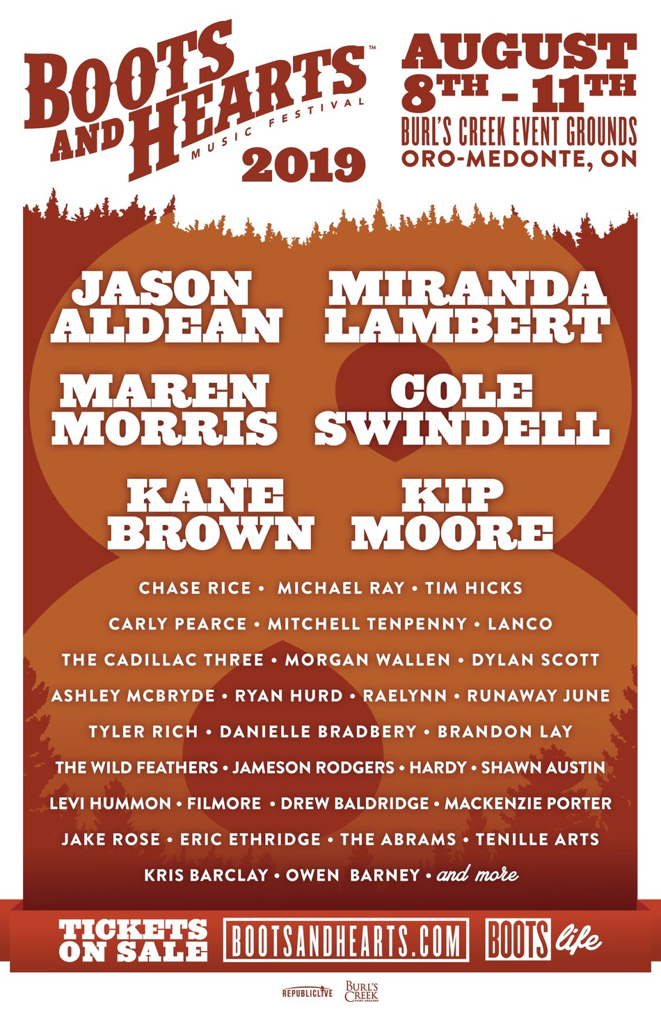 Boots and Hearts 2019 full line-up (CNW Group/Boots and Hearts Music Festival)