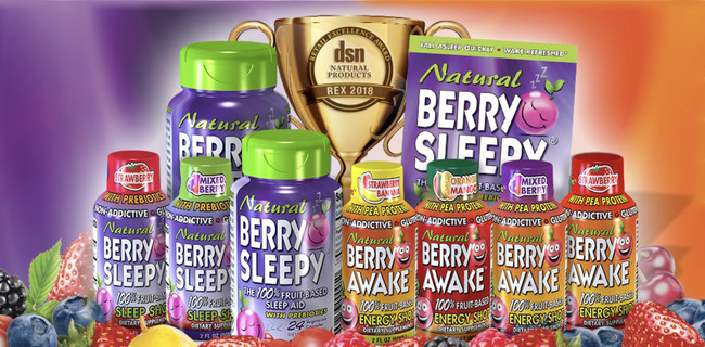 Berry Sleepy Recipient of the REX Award for the Second Year in a Row: Berry Sleepy and Berry Awake natural sleep aids and energy shots With Rex Award