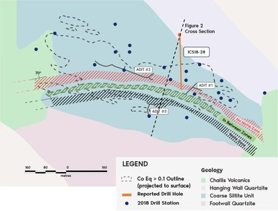 Figure 2. Bedrock geology and surface expression of cobalt-copper mineralization at Iron Creek. Outline of Inferred Resource at 0.1% CoEq from 2018 estimate is projected to surface. Surface projection of mineralized zones represent continuous sedimentary stratigraphic horizons. (CNW Group/First Cobalt Corp.)