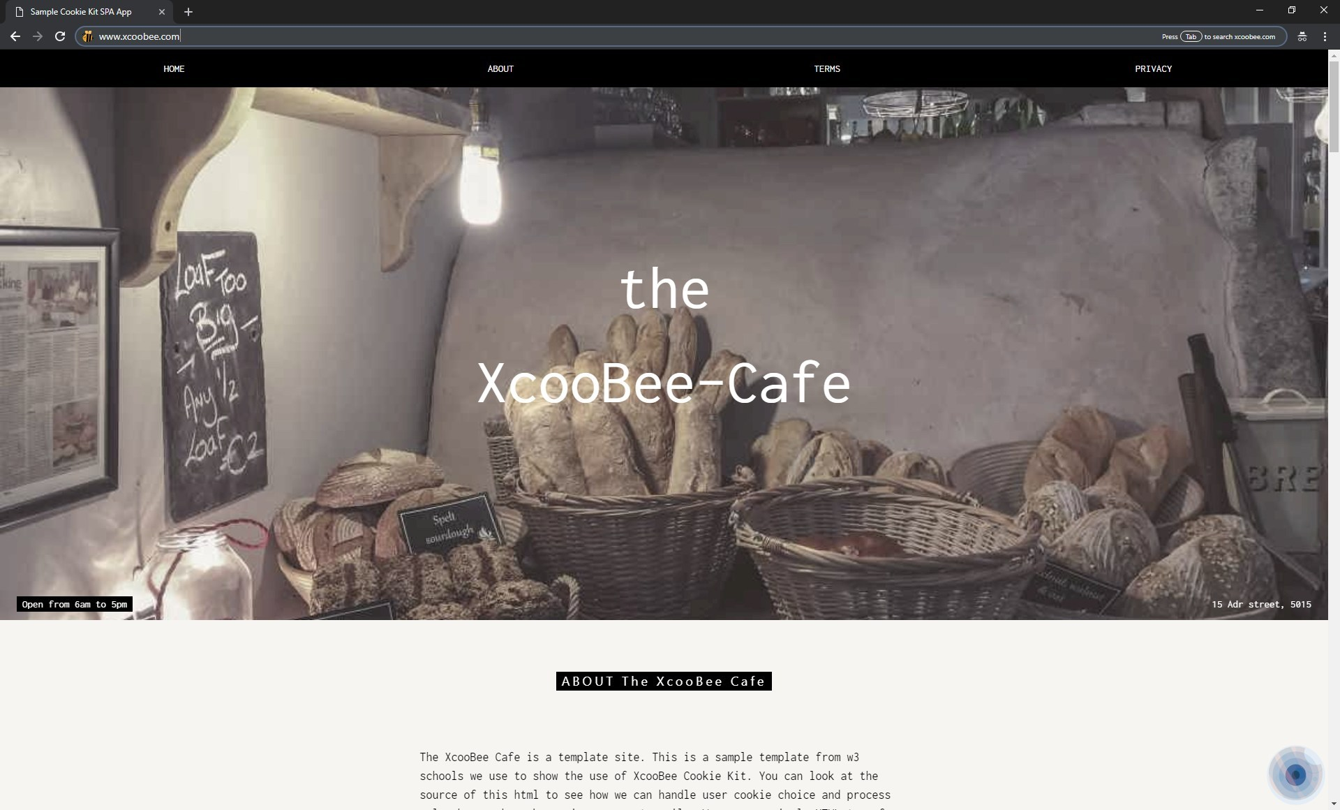 Blue pulse to indicate that XcooBee Cookie Kit has negotiated users preferences with site.