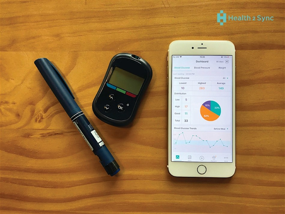 Health2Sync's App and healthcare provider platform enable doctors and patients to gain better understanding of blood sugar trends and track effectiveness of treatment (PRNewsfoto/Health2Sync)