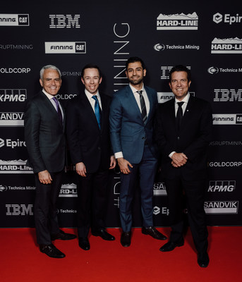 L-R: David Garofalo, President and CEO, Goldcorp; Arthur Gooch, Director of Innovation, ANDRITZ; Sohail Nazari, Business Development Manager, ANDRITZ; Rick Mercer, Master of Ceremonies (CNW Group/Goldcorp Inc.)