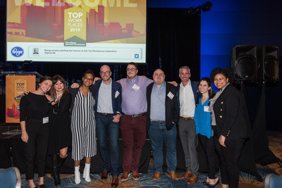 The ParkMobile team celebrates being named one of Atlanta's Top Workplaces in 2019.