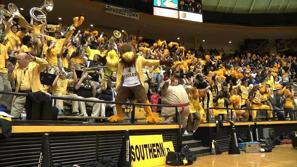 University of Southern Mississippi fans cheer for the Golden Eagles basketball team.  USM senior guard Cortez Edwards is a finalist for the 2019 C Spire Howell Trophy, which annually honors the top men's college basketball player in the Magnolia State. Fan voting will count for 10 percent of the vote total. - photo courtesy of USM Athletics