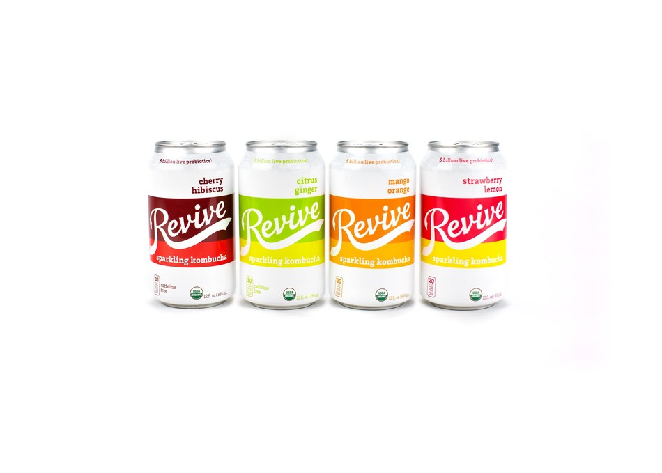 Revive Sparkling Kombucha delivers functional refreshment with only 5g of sugar and 20 calories per shelf-stable can.