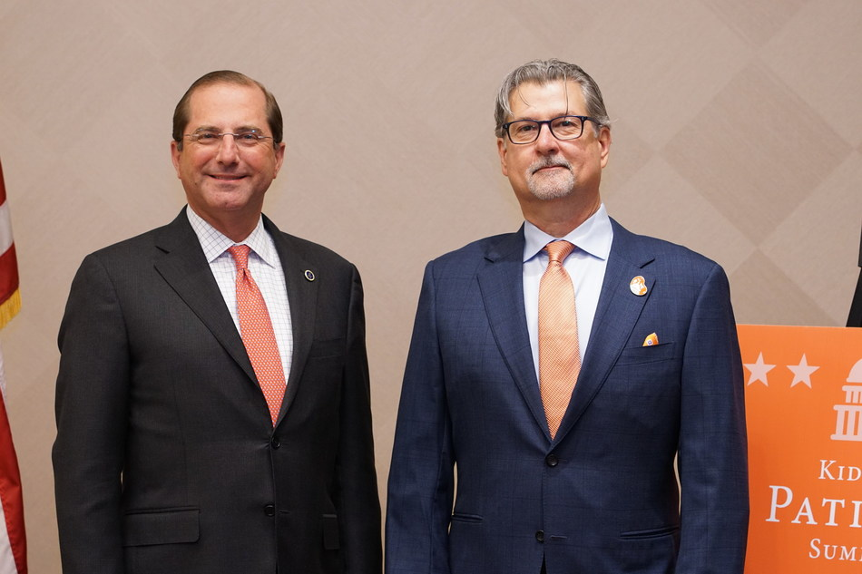Pictured from left: HHS Secretary Alex M. Azar II with National Kidney Foundation CEO Kevin Longino at the Kidney Patient Summit, Washington DC.