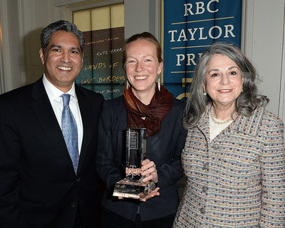 Vijay Parmar, 2019 RBC Taylor Prize winner Kate Harris and Noreen Taylor. Photo Tom  Sandler (CNW Group/RBC Taylor Prize)