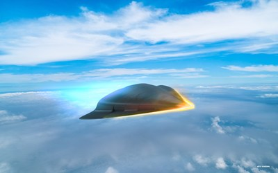 An artist's rendering illustrates what a hypersonic missile could look like as it travels along the edge of Earth's atmosphere. Raytheon is developing hypersonic weapons under several U.S. Department of Defense contracts.