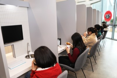 Customers take part in sensory tests at the Innovation Center