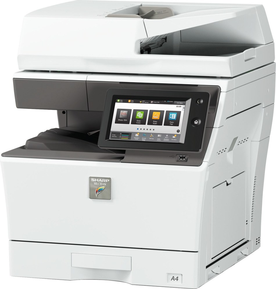 The Sharp MX-C303W desktop color multifunction printer.