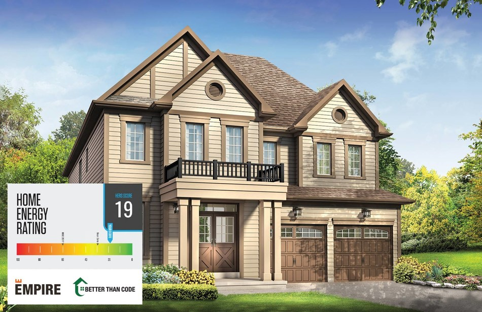 The Empire Discovery Home's HERS index rating. The HERS index shows a home's energy consumption and greenhouse gas emissions and is a validation that the energy performance of the home exceeds the Building Code in Canada. (CNW Group/Empire Communities)