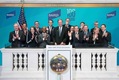 Baird visits the New York Stock Exchange in celebration of the employee-owned firm's 100th Anniversary of client service. Steve Booth, President & Chief Executive Officer, joined by Chris Taylor,Vice President, NYSE Listings and Services, rings The Closing Bell®.