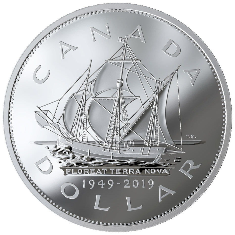 The Royal Canadian Mint's anniversary Silver Dollar marking 70 years since Newfoundland and Labrador joined Confederation (CNW Group/Royal Canadian Mint)