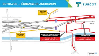 Entraves -- Échangeur Angrignon (Groupe CNW/Ministère des Transports)