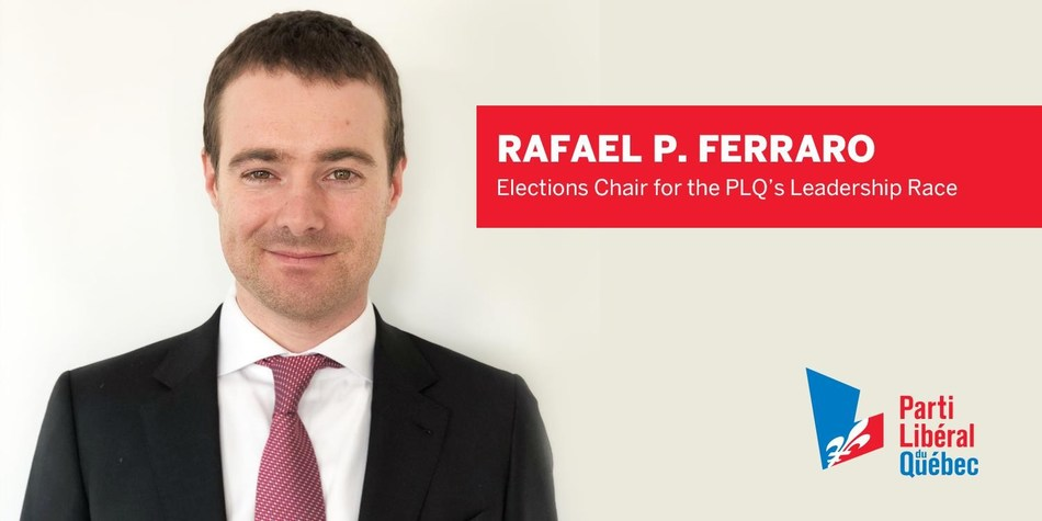 Rafael P. Ferraro named Elections Chair for the PLQ's leadership race (CNW Group/Quebec Liberal Party)