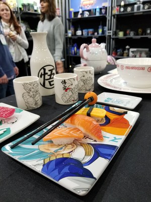Attendees celebrating featured license Dragonball Z's 30th anniversary with a sushi bar complete with Just Funky's exclusive line of sushi set.