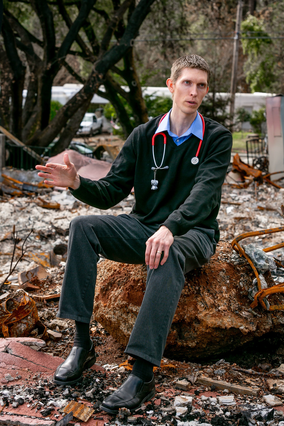 Dr. David Russell of the Paradise Medical Group next to his burned down office in Paradise, Calif. on February 28th, 2019