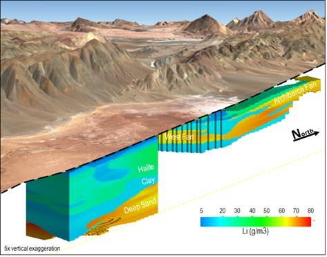 Figure 2: Resource model looking west-southwest through the SE Sector and the Archibarca area (the serrated pattern represents resource blocks along the property boundary) (CNW Group/Advantage Lithium Corp)