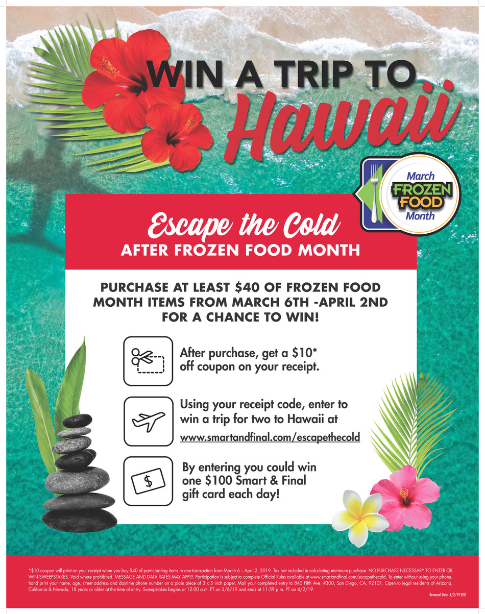 """Celebrate Frozen Food Month with """"Escape the Cold"""" Hawaiian Vacation Contest and In-Store Promotions"""