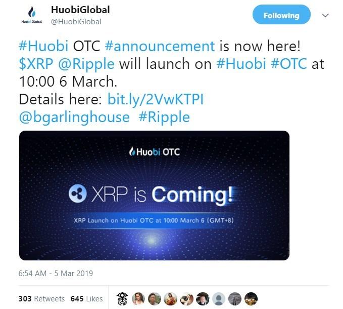 Huobi OTC launches XRP