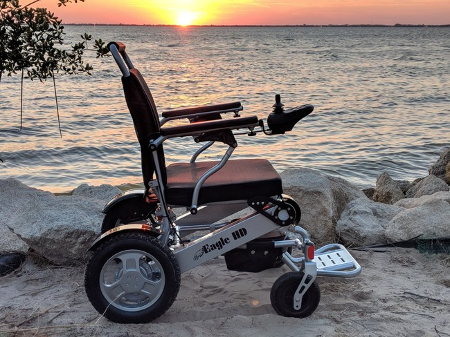 The Eagle Power Folding Wheelchair from Quick N Mobile. Holds up to 400 lbs!