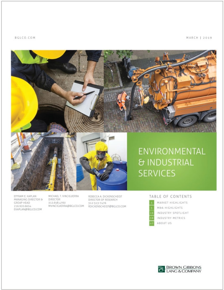 The underground infrastructure services market is growing, driven by heightened regulatory pressure, aging infrastructure, and increased construction activity which are expected to sustain demand, according to the EIS Insider, an industry report released by Brown Gibbons Lang & Company.